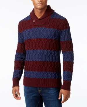 Men's Vintage Style Sweaters – 1920s to 1960s Tommy Hilfiger Mens Sheffield Striped Cable-Knit Sweater $149.00 AT vintagedancer.com