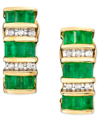 14k Gold Emerald (1-3/8 ct. t.w.) & Diamond (1/8 ct. t.w.) Earrings - Hoop Earrings