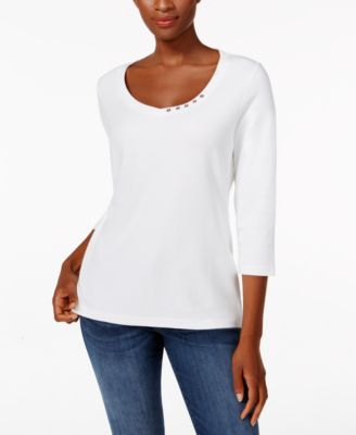 Image of Karen Scott Three-Quarter-Sleeve V-Neck Top, Only at Macy's