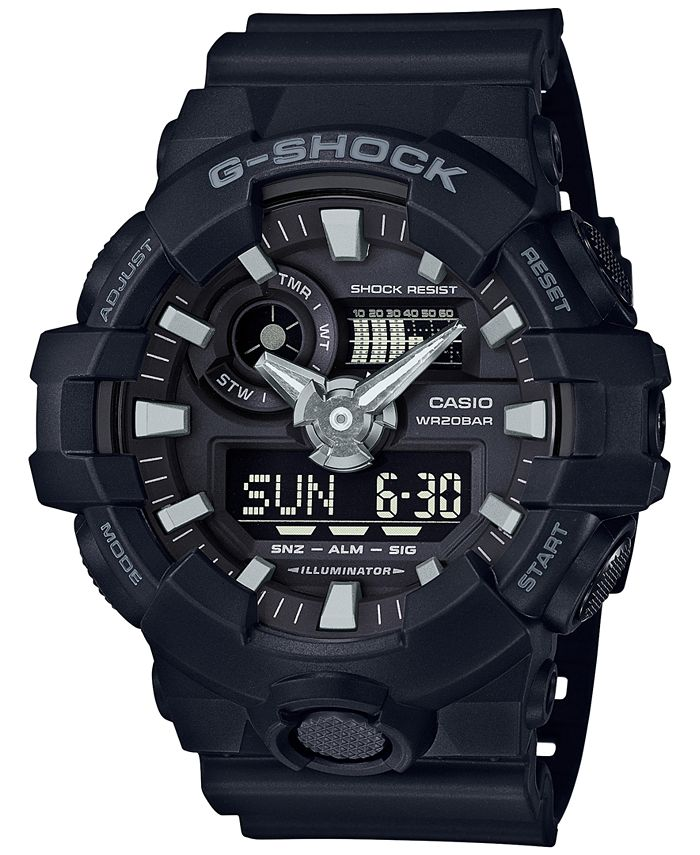 G-Shock - Men's Analog-Digital Black Resin Strap Watch 53x58mm GA-700-1B
