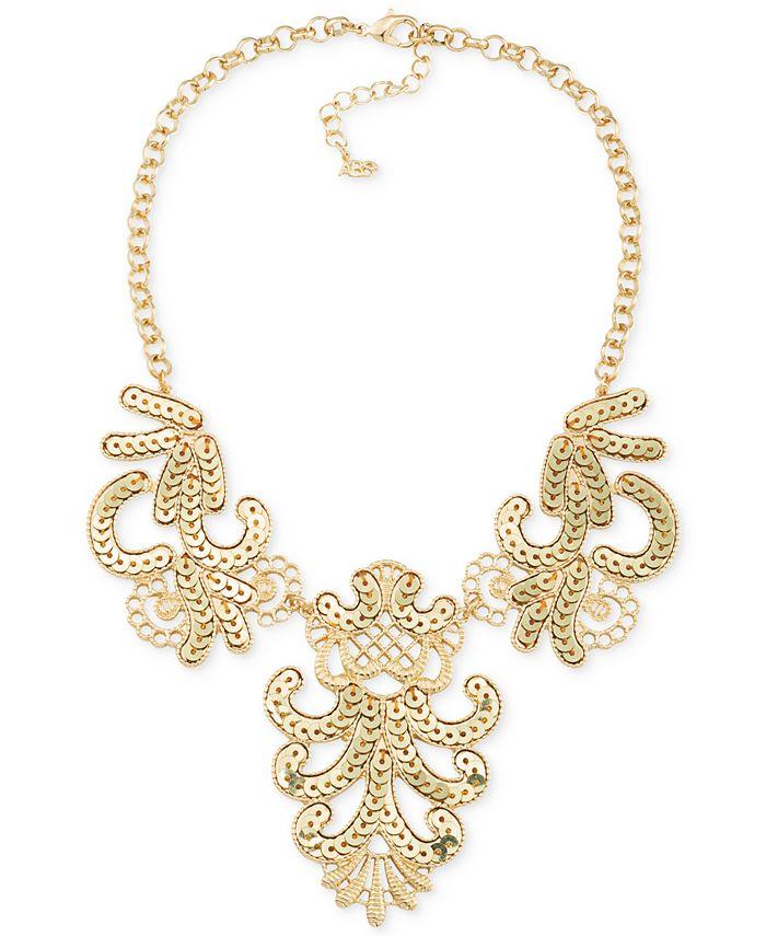 ABS by Allen Schwartz - Gold-Tone Sequin Swirl Bib Necklace