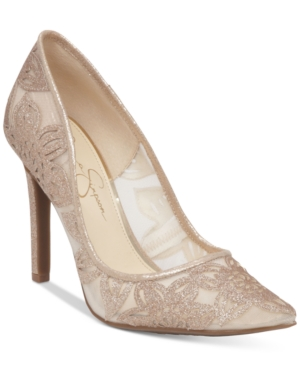 Jessica Simpson Charese Mesh & Floral Detail Evening Pumps Women's Shoes