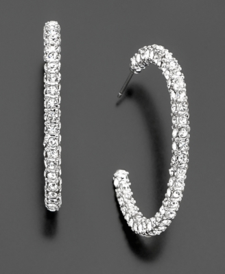 Givenchy Silvertone Crystal Hoop Earrings