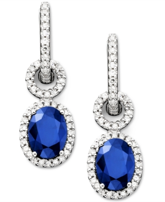 14k White Gold Sapphire (2-7/8 ct. t.w.) & Diamond (3/8 ct. t.w.) Earrings