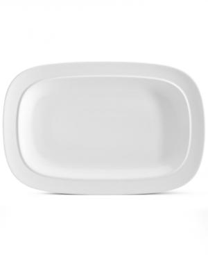 Denby Dinnerware, White Squares Oblong Platter