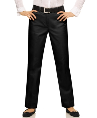 Jones New York Signature Petite Pants, Classic Refined Cotton Straight Leg, Black
