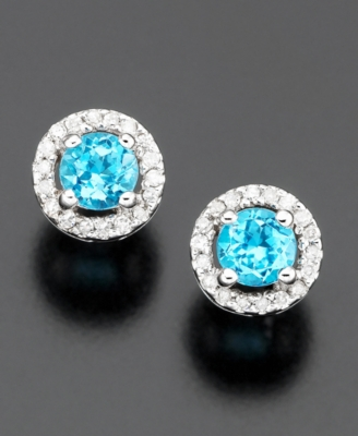 14k White Gold Blue Topaz (5/8 ct. t.w.) & Diamond (1/10 ct. t.w.) Stud Earrings