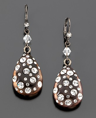 Betsey Johnson Teardrop Earrings - Fashion Earrings - Jewelry & Watches  - Macy's :  sparkle hematite betsey johnson teardrop