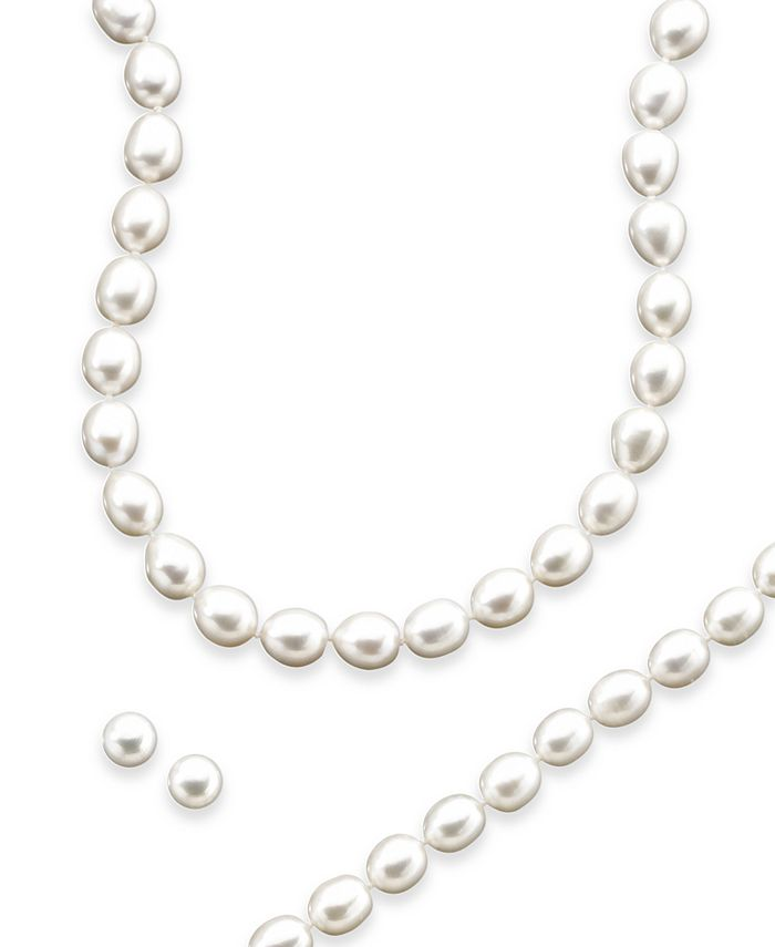 Macy's - Sterling Silver Cultured Freshwater Pearl Necklace, Bracelet and Earring Set