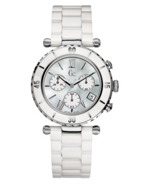 Gc Swiss Made Timepieces Watch, Women's Chronograph White Ceramic Bracelet G43001M1