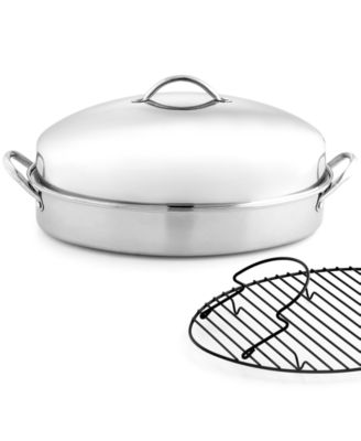 Martha Stewart Collection Stainless Steel Covered Oval Roaster with Roasting Rack