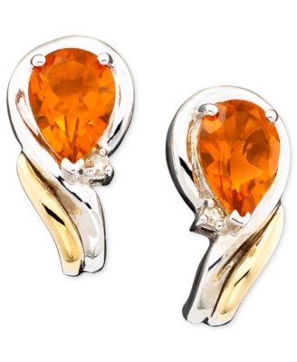 14k Gold & Sterling Silver Citrine (1-1/5 ct. t.w.) & Diamond Accent Earrings