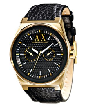 AX Armani Exchange Watch, Men's Black Leather Strap AX2013