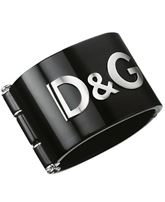 D&G Dolce & Gabbana Black Resin Logo Cuff Bracelet - Bracelets Fashion Jewelry - Jewelry & Watches  - Macy's