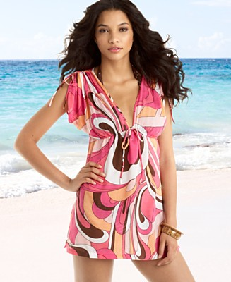 Sofia by Vix Bom Bom Drawstring Tunic Cover-Up - Cover Ups Swimwear - Women's  - Macy's