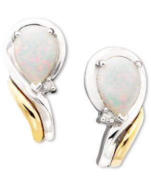 14k Gold & Sterling Silver Opal (3/8 ct. t.w.) & Diamond Accent Earrings