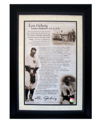 "Steiner Sports Lou Gehrig's Framed ""Luckiest Man"" Speech"