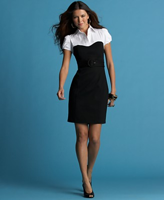INC International Concepts® Layered-Look Short-Sleeved Belted Dress - INC International Concepts - Women's  - Macy's
