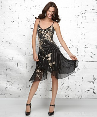 J Kara Beaded Asymmetrical-Hem Dress - Dresses - Women's - Macy's