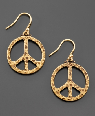Lucky Brand Gold Tone Peace Sign Earrings
