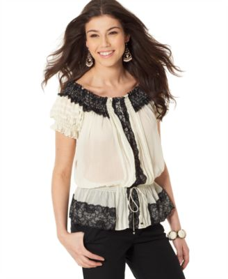Rampage Drop-Waist Peasant Top