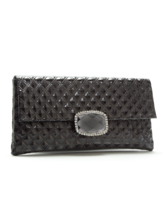 Jessica McClintock Handbag, Pleather Fold Over Stone Clutch