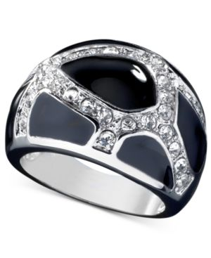 GUESS Black Enamel and Crystal Accent Ring
