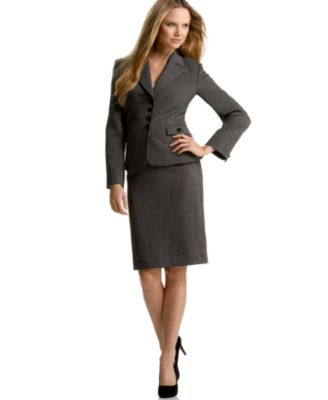 Tahari by ASL Notch Collar Four-Button Skirt Suit
