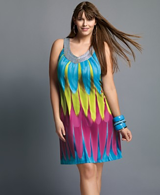 INC International Concepts® Plus Size A-Line Dress with Embellished Neckline - Tops Apparel Summer Must Haves - Plus Sizes - Macy's :  plus size dress plus size fashion trends plus size dresses
