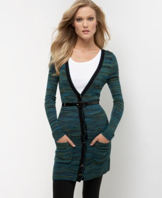 Kensie Space-Dyed Belted Boyfriend Cardigan Sweater