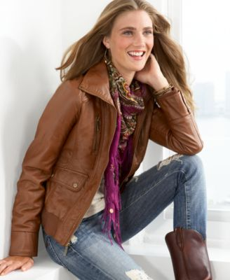 Steve Madden Faux Leather Bomber Jacket