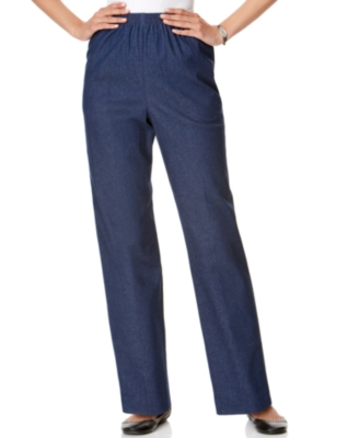 Alfred Dunner Pants, Denim Pull On Straight Leg