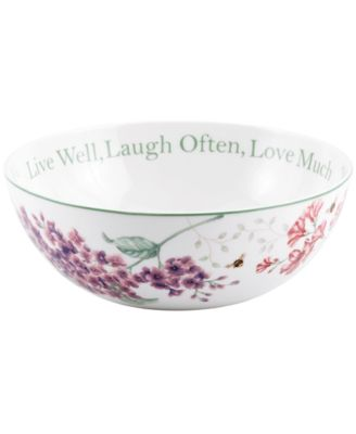 Lenox Dinnerware, Butterfly Meadow Serving Bowl Live Well, Laugh Often