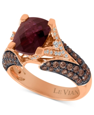 Le Vian 14k Rose Gold Ring, Raspberry Rhodolite (3 ct. t.w.), Chocolate Diamond (1-1/5 ct. t.w.) and White Diamond Accent Ring