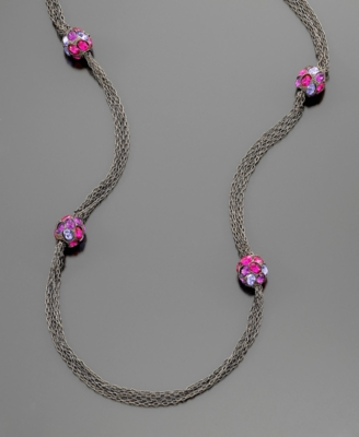 Kenneth Jay Lane Necklace, Gunmetal and Disco Balls