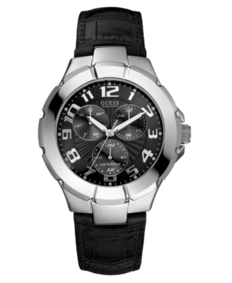 GUESS Watch, Men's Black Leather Strap U10051G2