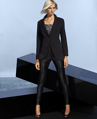 INC International Concepts Jersey Cutaway Jacket, Squareneck Sequined Tank Top & Liquid Leggings - INC International Concepts - Women's  - Macy's