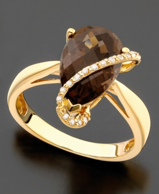 14k Gold Ring, Smokey Topaz (3-1/3 ct. t.w.) and Diamond Accent