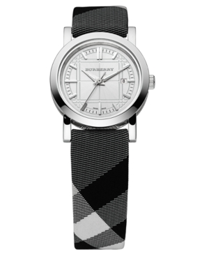 Burberry Watch, Women's Swiss Beat Check Fabric Strap 30mm BU1386