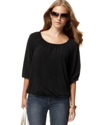 MICHAEL Michael Kors Top, Elbow Sleeve Blouson Knit