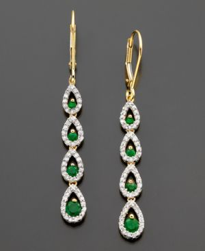 14k Gold Earrings, Emerald (3/4 ct. t.w.) and Diamond (1/3 ct. t.w.) - Dangle Earrings