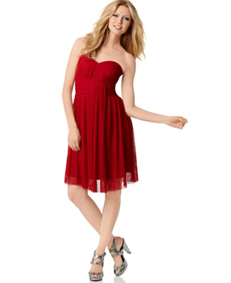 Calvin Klein Dress, Strapless Sweetheart Neckline - Dresses - Women's  - Macy's :  strapless dress designer dress red dress