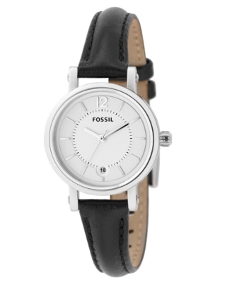 Fossil Watch, Women's Black Leather Strap ES2372
