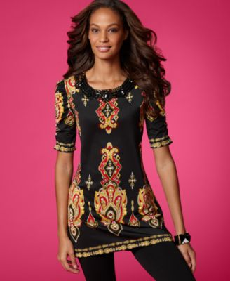INC International Concepts Tunic, Short Sleeve Printed with Necklace