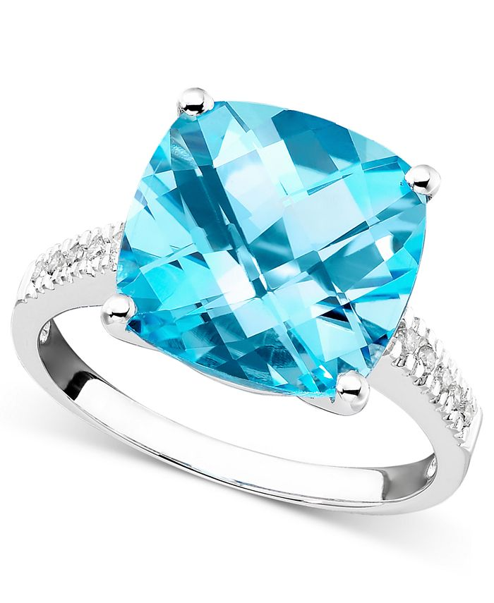 Macy's - 14k White Gold Ring, Blue Topaz (7-3/4 ct. t.w.) and Diamond Accent Ring