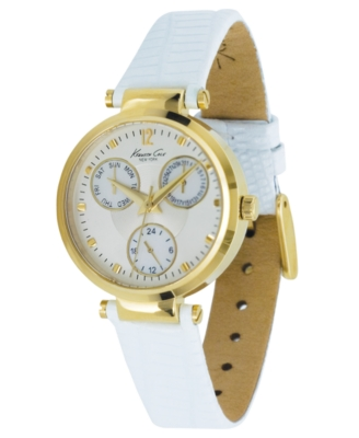 Kenneth Cole New York Watch, Women's White Leather Strap KC2561 - Chronograph Watches