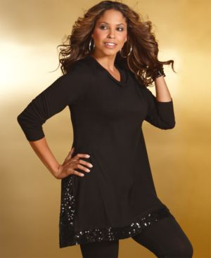 INC International Concepts Plus Size Top, Sequin Embellished Long Sleeve Tunic - Tops