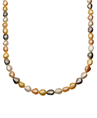 14k Gold Pearl Necklace, Multicolored Cultured Freshwater