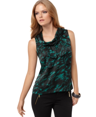 MICHAEL Michael Kors Top, Sleeveless Cowl Neck Printed