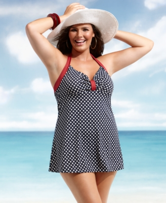 I.F. Plus Size Swimsuit, Retro Dot Halter Swimdress Women's Swimsuit